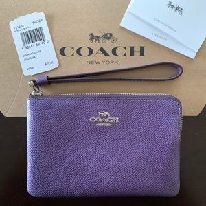 NWT Coach Wristlet - Metallic Periwinkle Purple